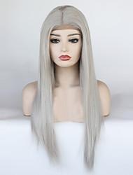 billige -Syntetisk Lace Front Parykker Lige Frisure i lag 150% Menneskelige hår tæthed Syntetisk hår Varme resistent / Elastisk / Dame Grå Paryk Dame Lang Blonde Front Grå