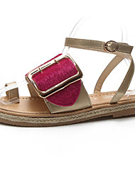 povoljno -Žene Cipele PU Ljeto Udobne cipele / Sandale s remenom oko palca Sandale Ravna potpetica za Vanjski Crn / Fuksija / Plava