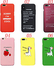 Недорогие -Кейс для Назначение Apple iPhone X iPhone 8 Защита от удара Матовое Кейс на заднюю панель Слова / выражения Фрукты Животное Твердый ПК для