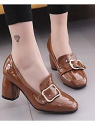 preiswerte -Damen Schuhe PU Frühling Pumps Komfort High Heels Blockabsatz für Normal Schwarz Gelb