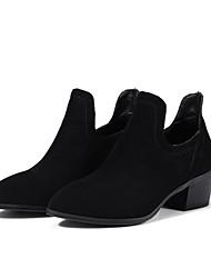 お買い得  -女性用 靴 フリース 冬 コンバットブーツ ブーツ チャンキーヒール ポインテッドトゥ ブーティー/アンクルブーツ のために アウトドア ブラック / グレー / Brown