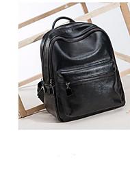 cheap -Unisex Bags Genuine Leather School Bag Zipper Black