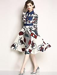 お買い得  -女性用 ストリートファッション Aライン ドレス - プリント, 幾何学模様 ミディ