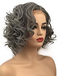 Недорогие -Синтетические кружевные передние парики Кудрявый Стрижка боб Искусственные волосы Для темнокожих женщин Серый Парик Жен. Средняя длина Лента спереди Серый