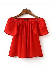baratos -Mulheres Blusa Básico Frufru / Pregueado, Sólido