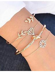 abordables -Femme Incompatibilité Bracelet - Arbre de la vie Européen Bracelet Or Pour Quotidien / 4pcs