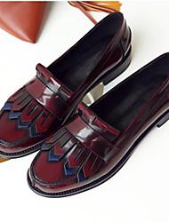 Mujer Zapatos Cuero de Napa Verano Confort Zapatos de taco bajo y Slip-On Tacón Plano Punta cerrada Negro / Wine 06f4yqq