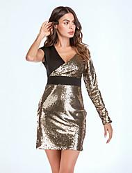 cheap -Women's Vintage Bodycon Dress - Color Block