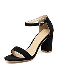 お買い得  -女性用 靴 PUレザー 夏 スリングバック サンダル チャンキーヒール オープントゥ ブラック / レッド / アーモンド