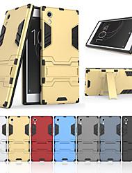 Недорогие -Кейс для Назначение Sony Xperia XA1 со стендом Кейс на заднюю панель Однотонный Твердый ПК для Sony Xperia XA1