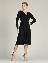 cheap -Suzanne Betro Women's Basic Little Black / Swing / Sweater Dress - Solid Colored