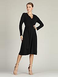 baratos -Mulheres Básico Vestidinho Preto / balanço / Tricô Vestido Sólido Médio