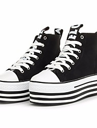 Недорогие -Жен. Обувь Полотно Весна лето Удобная обувь Кеды Микропоры Круглый носок Белый / Черный