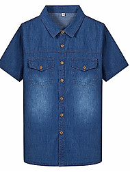 cheap -Men's Shirt - Solid Colored Denim