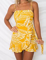 baratos -Mulheres Básico / Boho Sereia Vestido - Frente Única / Estampado, Floral Acima do Joelho