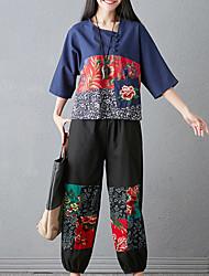 baratos -Mulheres Camisa Social Floral Calça