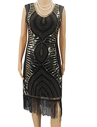 cheap -The Great Gatsby The Great Gatsby 1920s Costume Women's Dress Black Golden Silver Vintage Cosplay Polyester Sleeveless