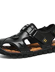 cheap -Men's Cowhide Summer Comfort Sandals Walking Shoes Color Block Black / Light Brown / Dark Brown / Slogan