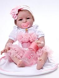 baratos -FeelWind Bonecas Reborn Bebês Meninas 22 polegada Vinil - realista Cílios aplicados à mão de Criança Para Meninas Brinquedos Dom