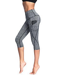 cheap -Women's Yoga Pants - Grey, Rough Black, Light gray Sports Spandex 3/4 Tights / Tights / Leggings Running, Fitness Activewear Anatomic Design, Soft, Comfortable High Elasticity