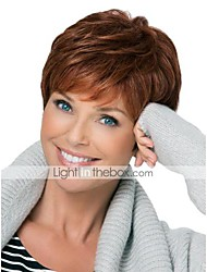 cheap -Human Hair Capless Wigs Pixie Cut / Layered Haircut / With Bangs Side Part Light Brown Short Wig Deep Wave Women's Daily / Wavy
