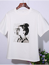 baratos -Mulheres Camiseta Estampado, Sólido / Retrato