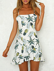 cheap -Women's Basic A Line Dress - Fruit Pineapple, Print