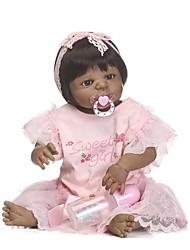 baratos -NPKCOLLECTION Bonecas Reborn Bebês Meninas 24 polegada Silicone de corpo inteiro / Vinil - Olhos Castanhos de Implantação Artificial de Criança Para Meninas Dom
