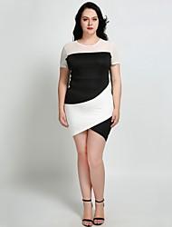 hesapli -Kadın's Büyük Bedenler Tatil Temel sofistike İnce Kılıf Elbise - Zıt Renkli, Örümcek Ağı Mini Asimetrik Siyah ve Beyaz