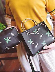 baratos -Mulheres Bolsas PU Conjuntos de saco 2 Pcs Purse Set Estampa Preto / Rosa / Bege