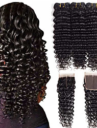 cheap -Brazilian Hair Wavy One Pack Solution PVC Bag 8-24 inch Human Hair Weaves Machine Made Extention Natural Black Women's