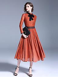 Недорогие -Жен. Классический С летящей юбкой Платье - Однотонный, Пэчворк Средней длины