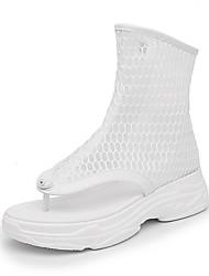 Недорогие -Жен. Обувь Сетка Весна лето Удобная обувь / Модная обувь Ботинки На плоской подошве Открытый мыс Сапоги до середины икры Пряжки Белый / Черный