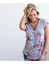 billige -Dame - Blomstret Trykt mønster T-shirt
