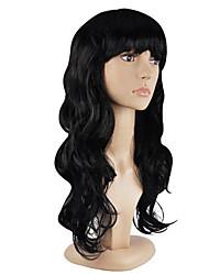 Недорогие -Парики из искусственных волос Кудрявый Стрижка каскад Искусственные волосы Для вечеринок Черный Парик Жен. Длинные Без шапочки-основы Черный как смоль