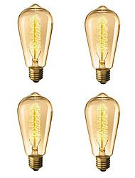 abordables -4pcs 40 W E26 / E27 ST64 Blanc Chaud 2300 k Rétro / Intensité Réglable / Arbre Ampoule incandescente Edison Vintage 220-240 V