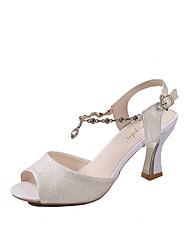 baratos -Mulheres Sapatos Couro Ecológico Verão MaryJane Sandálias Salto Robusto Peep Toe Gliter com Brilho Branco / Bege / Rosa claro / Casamento / Festas & Noite