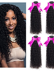 Недорогие -4 Связки Перуанские волосы Кудрявый 8A Натуральные волосы Человека ткет Волосы Удлинитель 8-28 дюймовый Черный Естественный цвет Ткет человеческих волос Машинное плетение