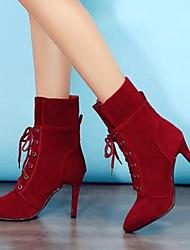 Недорогие -Жен. Обувь Замша / Наппа Leather Наступила зима Модная обувь Обувь на каблуках На шпильке Закрытый мыс Сапоги до середины икры Серый / Желтый / Красный