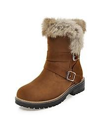 baratos -Mulheres Sapatos Couro Ecológico Inverno Botas de Neve Botas Salto de bloco Ponta Redonda Botas Cano Médio Preto / Bege / Amarelo