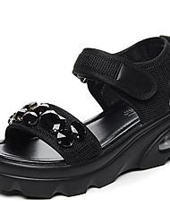Недорогие -Жен. Обувь Тюль Лето Удобная обувь Сандалии Микропоры Черный / Зеленый
