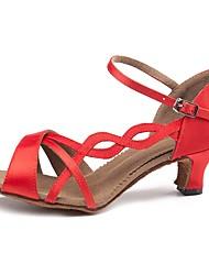 cheap -Women's Latin Shoes Satin Sandal / Heel Buckle / Lace Side Slim High Heel Customizable Dance Shoes Red