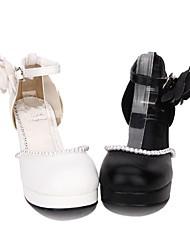 abordables -Chaussures Doux / Lolita Classique / Traditionnelle Princesse Talon Bottier Chaussures Couleur Pleine 6.5 cm CM Blanc / Noir Pour PU