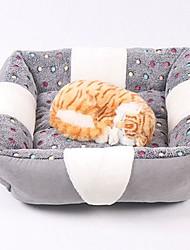 baratos -Mini / Manter Quente / Macio Roupas para cães Camas Xadrez / Moderno Cinzento Cachorros / Coelhos / Gatos