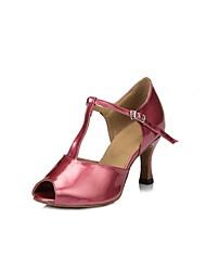 baratos -Mulheres Sapatos de Dança Latina Couro Sintético Sandália Salto Carretel Sapatos de Dança Roxo