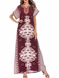 お買い得  -女性用 ヴィンテージ パフスリーブ シフト ドレス ソリッド 膝丈 ブルー & ホワイト
