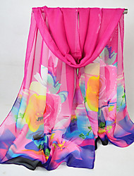 cheap -Women's Chiffon Rectangle - Floral / Color Block / Rainbow Mesh / All Seasons