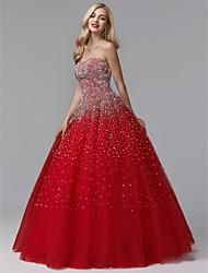 baratos -De Baile Sem Alças Longo Cetim / Tule Festa de 15 Anos Vestido com Detalhes em Cristal de TS Couture® / Brilho & Glitter