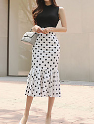 cheap -Women's Street chic Trumpet / Mermaid Dress - Polka Dot Black & White, Print