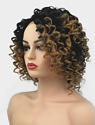 cheap -Synthetic Lace Front Wig Curly Middle Part Synthetic Hair Ombre Hair / For Black Women Light Brown Wig Women's Mid Length Lace Front